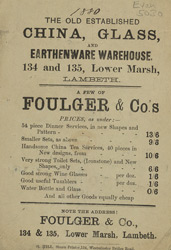 Advert for the Old Established China, Glass and Earthernware Warehouse